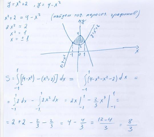 математика вычислить площадь фигуры ограниченная линиями решение онлайн