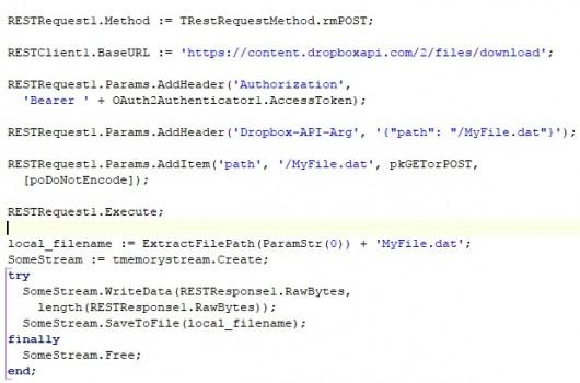 Delphi работа с Dropbox api посредством REST library - Технологии